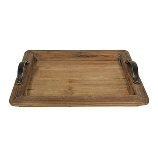 Cheung's Wood Tray with Metal Handles