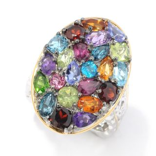 Michael Valitutti Palladium Silver Multi Gemstone Round Top Cluster Ring