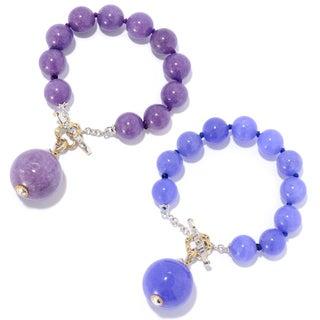 Michael Valitutti Palladium Silver Color Dyed Quartz Bead Toggle Bracelet w/ 22mm Drop Charm