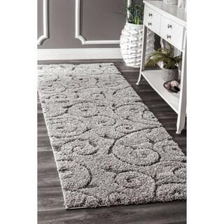 nuLOOM Soft and Plush Vine Swirls Shag Dark Grey Shag Rug (5'3 x 7'6)