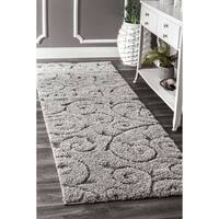 nuLOOM Soft and Plush Vine Swirls Shag Dark Grey Shag Rug (5'3 x 7'6)