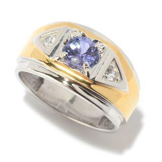 Michael Valitutti Palladium Silver Tanzanite & White Topaz Polished Men's Band Ring (Option: 13)