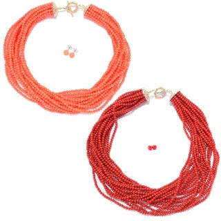 Michael Valitutti Palladium Silver Bamboo Coral Multi Strand Necklace & Stud Earrings Set