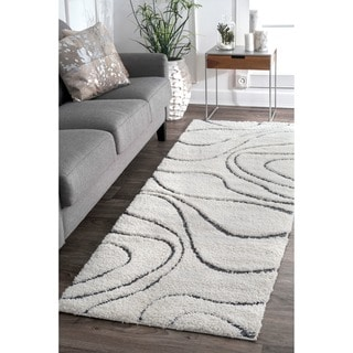 nuLOOM Soft and Plush Luxurious Curves Beige Shag Runner Rug (2'8 x 8')