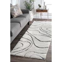 nuLOOM Soft and Plush Luxurious Curves Beige Shag Runner Rug - 2'8 x 8'
