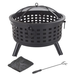 """Fire Pit Set, Wood Burning Pit - Includes Spark Screen and Log Poker 26"""" Round Metal Firepit by Pure Garden - 26 x 26 x 24"""
