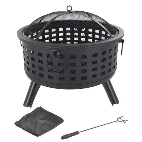"""Fire Pit Set, Wood Burning Pit - Includes Spark Screen and Log Poker 26"""" Round Metal Firepit by Pure Garden"""