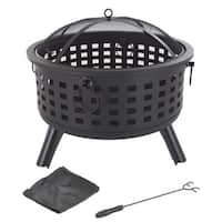 "Fire Pit Set, Wood Burning Pit - Includes Spark Screen and Log Poker 26"" Round Metal Firepit by Pure Garden"