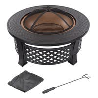 "Fire Pit Set - Includes Spark Screen and Log Poker - 32"" Round Metal Firepit by Pure Garden"