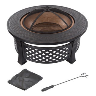 """Fire Pit Set - Includes Spark Screen and Log Poker - 32"""" Round Metal Firepit by Pure Garden"""