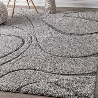 nuLOOM Soft and Plush Luxurious Curves Dark Grey Shag Rug (5'3 x 7'6)