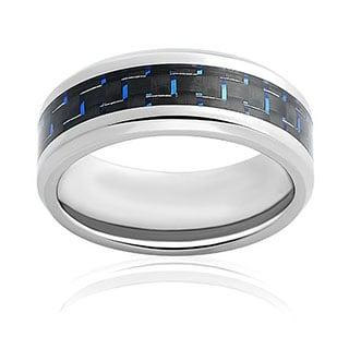 Oliveti Men's Titanium Black and Blue Carbon Fiber Comfort Fit Ring