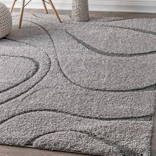 nuLOOM Soft and Plush Luxurious Curves Dark Grey Shag Rug (6'7 x 9')