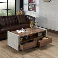 Furniture of America Kendelle Modern Industrial Concrete-like Coffee Table