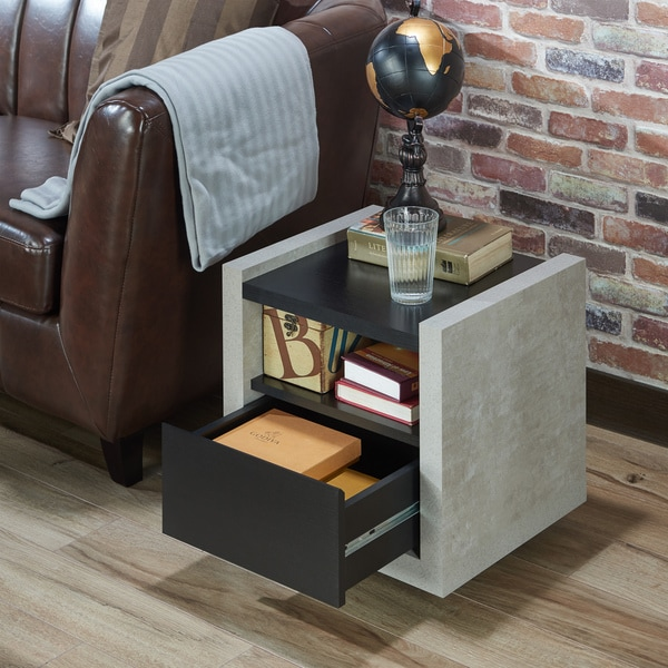 Furniture Of America Kendelle Modern Industrial Concrete Like End Table
