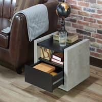 Carbon Loft Pelton Modern Industrial Concrete-like End Table