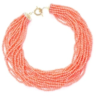 Michael Valitutti Palladium Silver Pink Bamboo Coral & Pink Tourmaline Multi Strand Toggle Necklace