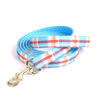 "Red Haute Horse Madras Blue on Blue Polka Dot Lead 1"" x 96"""