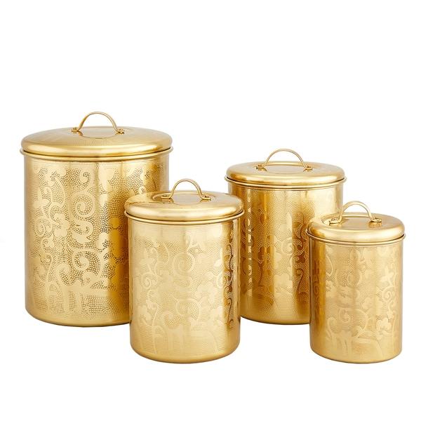 4 pc. Avignon Champagne Tone Etched Canister Set, 4 Qt., 2 Qt., 1.5 Qt., 1 Qt., (L)