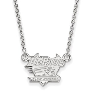 Sterling Silver LogoArt DePaul University Small Pendant with Necklace