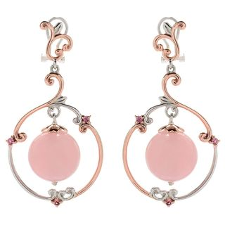 Michael Valitutti Palladium Silver Rose Quartz & Pink Tourmaline Dangle Earrings