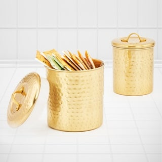 Décor Champagne Hammered Canister Set