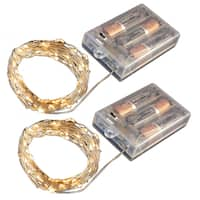 Battery Operated LED Waterproof Mini String Lights with Timer -Amber (Set of 2)