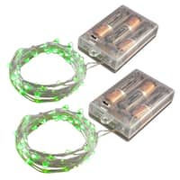 Battery Operated LED Waterproof Mini String Lights with Timer- Green (Set of 2)