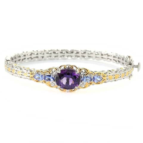Michael Valitutti Palladium Silver Congo Amethyst & Tanzanite Bangle Bracelet