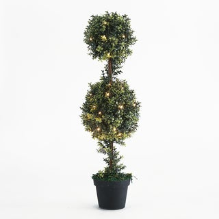 Winsome House LED-lit Double-ball Orchid Topiary