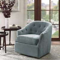 Madison Park Gayla Light Blue Swivel Chair