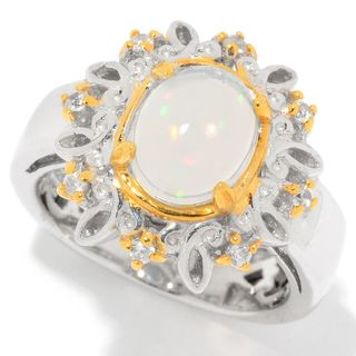 Michael Valitutti Palladium Silver Ethiopian Opal & White Zircon Flower Ring