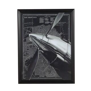 Vintage-look Black Wood Framed San Francisco Plat Map with Propeller Overlay Print