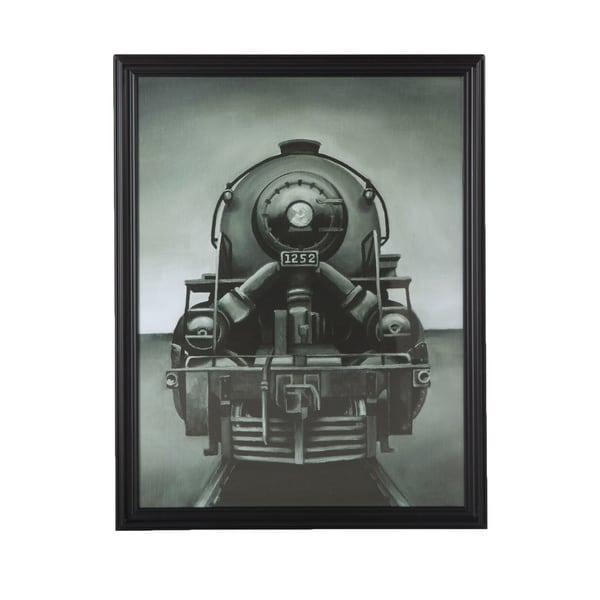 Vintage-look Black Wood Framed Locomotive 1252 Print