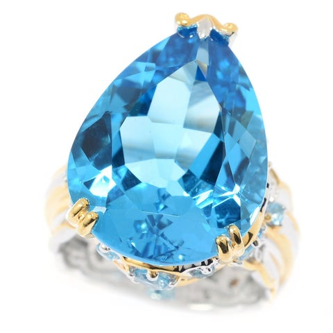 Michael Valitutti Palladium Silver Swiss Blue Topaz Scalloped Edge Pear Shaped Ring