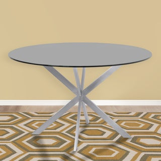 Armen Living Mystere Grey Tempered Glass Brushed Stainless Steel Round Dining Table