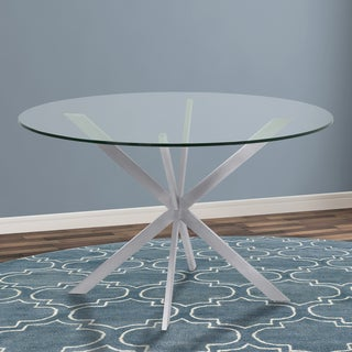 Armen Living Mystere Brushed Stainless Steel Clear Tempered Glass Round Dining Table