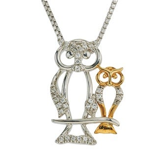 Diamond Owl Mom & Child Necklace - White