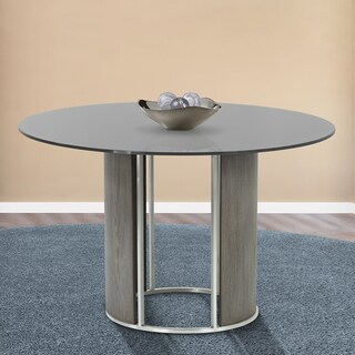 Armen Living Delano Brushed Stainless Steel Round Dining Table with Grey Tempered-glass Top