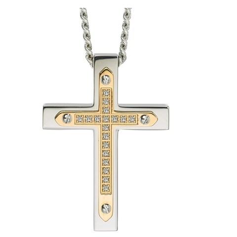 Diamond Cross Pendant in Stainless Steel (0.10 carats) - Yellow