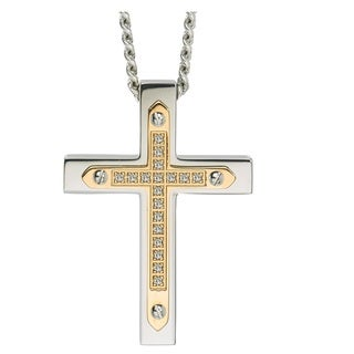 Diamond Cross Pendant in Stainless Steel (0.10 carats)