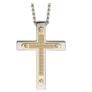 Diamond Cross Pendant in Stainless Steel (0.10 carats) - Yellow