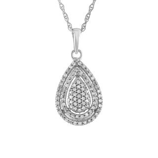 Diamond Teardrop Necklace in Sterling Silver (0.25cts) - White