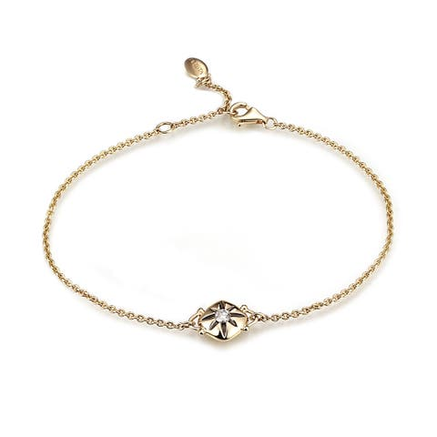 Diamond Cushion Chain Bracelet in 14k Yellow Gold (0.10 cts)