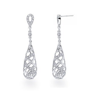 Diamond Drop Cage Earrings in Sterling Silver (0.20 carats, H-I I3)