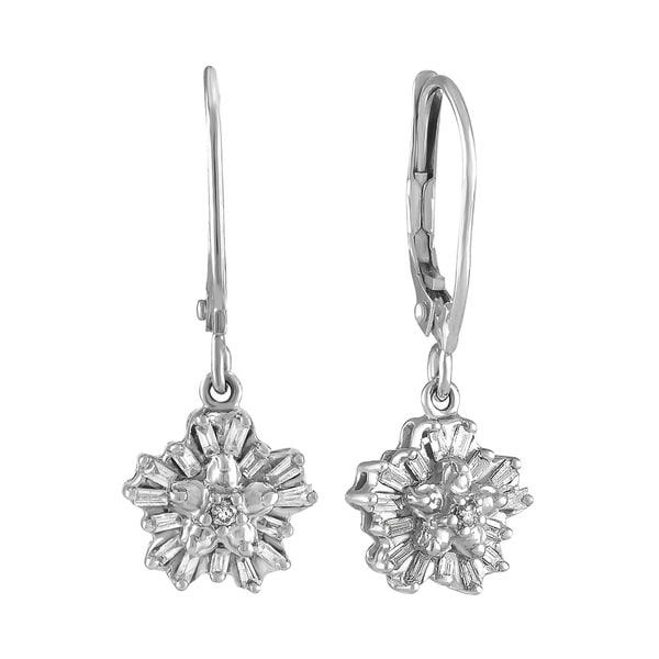 ad6307e67aa94 Shop Diamond 1/5cttw Snowflake Earrings in 10Kt White Gold - Free ...