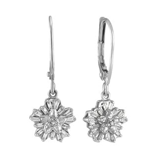 Diamond 1/5cttw Snowflake Earrings in 10Kt White Gold