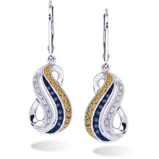 Blue and Wheat Diamond Earrings in Sterling Silver