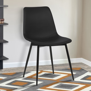 Armen Living Monte Black Faux Leather Dining Chair