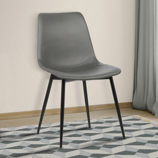 Armen Living Monte Grey/Black Faux-leather/Metal Contemporary Dining Chair